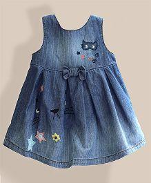 Lil Mantra Cat Design Denim Dress - Blue