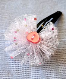 Pretty Ponytails Dotted Tulle Heart Hairclip - Pink