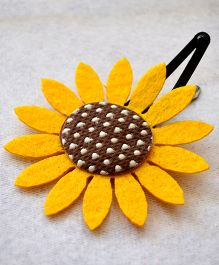 Pretty Ponytails Sunflower Applique Hair Clip - Yellow & Brown