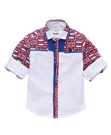 Oks Boys Full Sleeves Shirt Contrast Button Placket  - White Dark Red & Blue