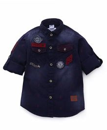 Oks Boys Full Sleeves Solid Color Shirt With Pockets - Dark Blue