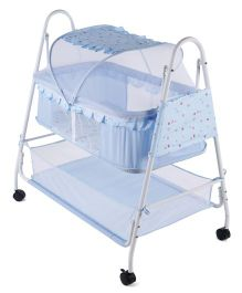 Baby Cradle With Mosquito Net - Sky Blue