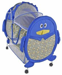Baby Cradle With Mosquito Net Penguin Design - Blue