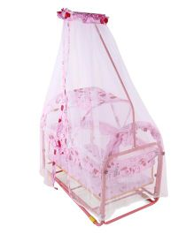 Baby Cradle With Mosquito Net Heart Print - Pink