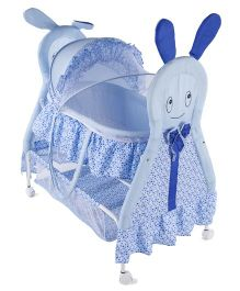 Baby Cradle With Mosquito Net Rabbit Design - Blue