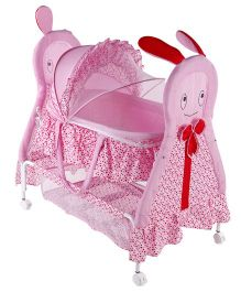 Baby Cradle With Mosquito Net Rabbit Design - Pink