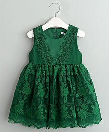 Pre Order - Mauve Collection Laced Fit & Flare Dress - Bottle Green