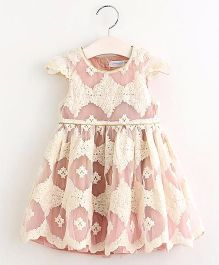Pre Order - Mauve Collection Cut Work Laced Dress - Peachish Pink