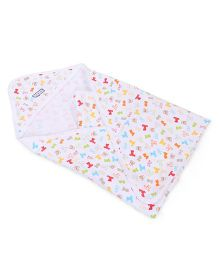 ToffyHouse Hooded Wrapper All Over Teddy Print - White