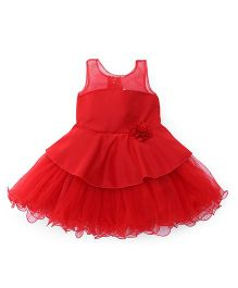 Bluebell Sleeveless Party Wear Frock With Ruffled Hem - Red