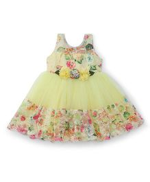 Bluebell Sleeveless Party Frock Floral Design - Lemon Yellow