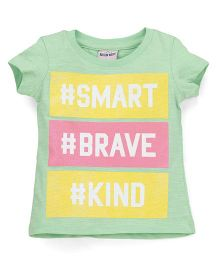 Button Noses Short Sleeves Top Smart & Brave Print - Yellow