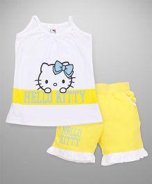 Hello Kitty by Babyhug Singlet Top & Short Set - White Yellow