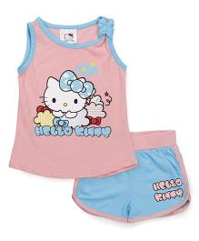 Hello Kitty by Babyhug Sleeveless Top & Shorts Set - Pink Blue