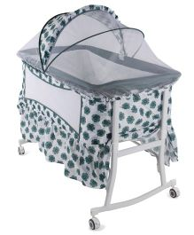 Baby Cradle With Mosquito Net Floral Print - Green White