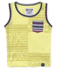 Gini & Jony Sleeveless Printed T-Shirt - Lemon Yellow