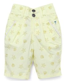 Palm Tree Shorts Star Print - Light Yellow