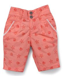 Palm Tree Shorts Star Print - Coral