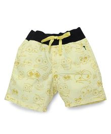 Palm Tree Printed Shorts  - Lemon Yellow