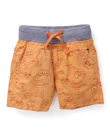 Palm Tree Printed Shorts  - Orange