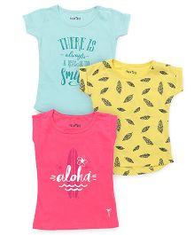 Palm Tree Half Sleeves Printed Top Set Of 3 - Pink Yellow Aqua
