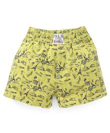Palm Tree Shorts Multiprint - Lemon Yellow