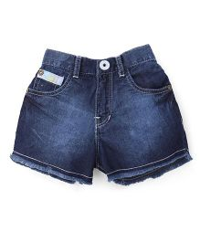 Palm Tree Denim Shorts With Fringes - Dark Blue