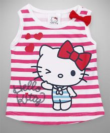 Hello Kitty by Babyhug Sleeveless Tee Stripes Print - White Pink