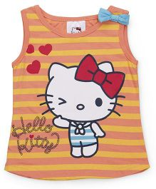 Hello Kitty by Babyhug Sleeveless Tee Stripes Print - Peach Yellow
