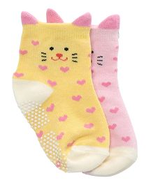 Whistling Winds Mix Socks Kitty Design - Pink Yellow