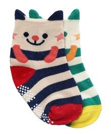 Whistling Winds Mix Stripes Socks Kitty Design - Blue Green