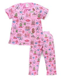 Cucumber Half Sleeves Night Suit Multiprint - Pink
