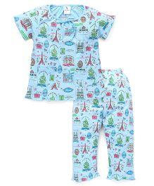 Cucumber Half Sleeves Night Suit Multiprint - Sky Blue