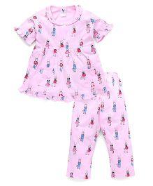 Cucumber Half Sleeves Printed Night Suit - Pink