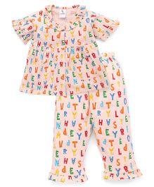 Cucumber Half Sleeves Night Suit Alphabets Print - Peach