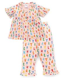 Cucumber Half Sleeves Night Suit Alphabets Print - Peach