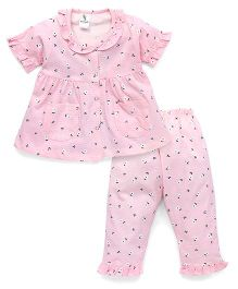Cucumber Half Sleeves Night Suit Floral Print - Pink