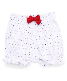 Cucumber Dotted Bloomer Bow Applique - White Red