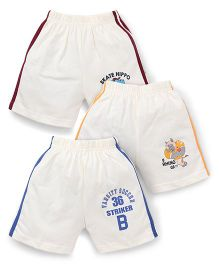 Cucumber Shorts White Base Pack of 3 - Maroon Yellow Blue