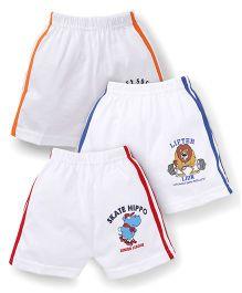 Cucumber Shorts White Base Pack of 3 - Red Blue Orange