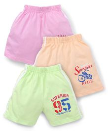Cucumber Shorts Pack of 3 - Pink Peach Light Green