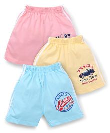Cucumber Shorts Pack of 3 -  Pink Yellow Sky Blue