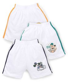 Cucumber Shorts White Base Pack of 3 - Navy Green Orange