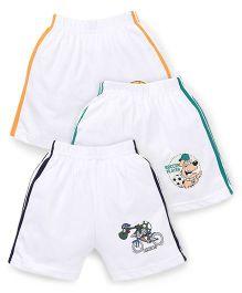 Cucumber Shorts White Base Pack of 3 - Navy Green Orange