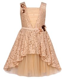 Cutecumber Sleeveless Asymmetrical Party Wear Frock Floral Appliques - Brown