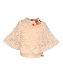 Cutecumber Poncho Style Party Wear Top Floral Appliques - Cream