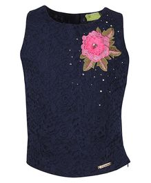 Cutecumber Sleeveless Party Wear Top Flower Applique - Navy