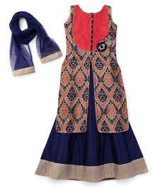 Enfance Brocade Patch Work Kurta & Lehnga Set With Dupatta - Tomato Red & Blue