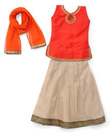 Enfance Lace Worked Enchor Stitching A-Line Choli Lehenga Set With Dupatta - Orange