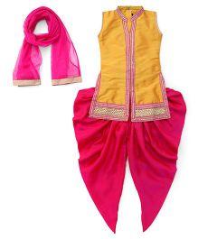 Enfance Collored Kurta With Dhoti Pant & Dupatta Set - Yellow & Rani